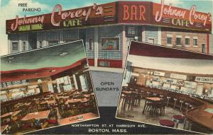 Great Multiview Linen Postcard Johnny Corey's Cocktail Lounge Cafe Bar Boston MA