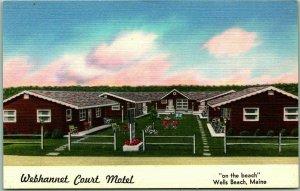 Wells Beach, Maine Postcard WEBHANNET COURT MOTEL Roadside Linen c1940s Unused