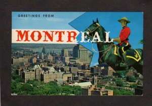 PQ QC Greetings From Montreal Quebec Carte Postale Postcard Mounted Police