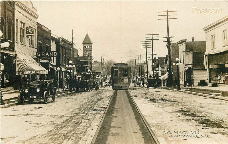 WI, Clintonville, Wisconsin, The White Way, Trolley, Big Four Post Card Co, RPPC