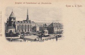 ESSEN , Germany , 1890s ; Burgplatz mit Kaiserdenkmal und Munsterkirche