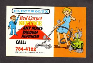 ME Electrolux Vacuum Cleaner Lisbon St Lewiston Maine Postcard Advertising Ad