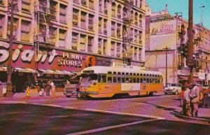 California Los Angeles Trolley At Intersection Of 2nd and Broadway