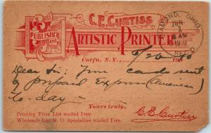 1910 CORFU, NY Advertising Postcard C.E. CURTISS Publisher & Artistic Printer