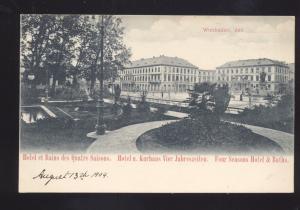 HOTEL ET BAINS DES QUATRE NAISONS JAHRESZEITON GERMANY OLD VINTAGE POSTCARD