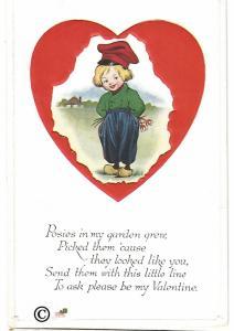 Vintage Postcard Valentine's Day Card Little Dutch Boy in Red Heart