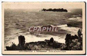Old Postcard Cote D Emerald Rotheneuf Entree des Rochers Sculptes