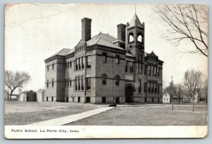 La Porte City Iowa~Public School~Open Belfry~Neighborhood Houses Behind~c1910