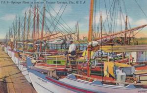 Florida Tarpon Springs Sponge Fleet In Harbor Curteich