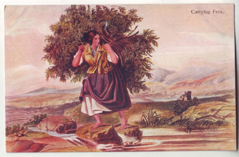 P933 scottish mcian,s highland series art woman carrying ferns view