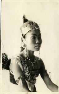 indonesia, JAVA SURAKARTA SOLO, Native Court Dancer Jewelry 1930s RPPC Postcard