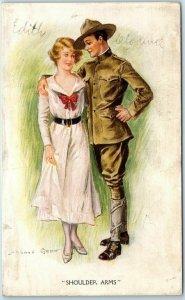 Vintage WWI Artist-Signed ARCHIE GUNN Postcard SHOULDER, ARMS Soldier & Girl