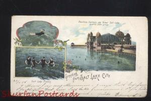 GREETINGS FROM SALT LAKE CITY UTAH 1904 MULTI VIEW ANTIQUE VINTAGE POSTCARD