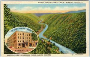 Wellsboro, PA Postcard Pennsylvania's Grand Canyon PENN-WELLS HOTEL Linen