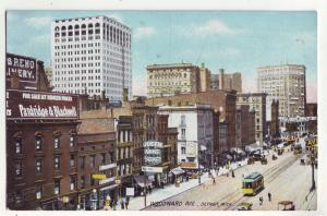 P791 old card woodward ave trolleys signs cars etc detroit mich