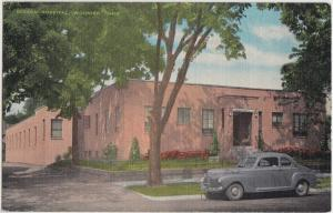 Old Linen WOOSTER Ohio Postcard BEESON HOSPITAL Building Car