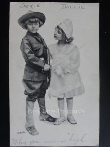 Children Dressed up as a Soldier and a Nurse, Old Postcard - Pub by N.A. Co
