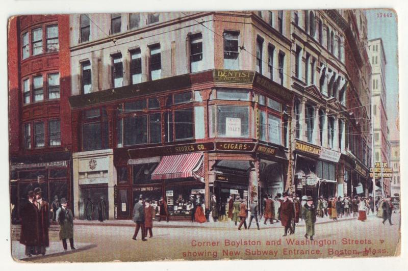 P973 old busy card people, store signs ect boylston & washington st boston mass