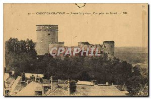 Old Postcard Coucy le Chateau Before the war taking view to the east