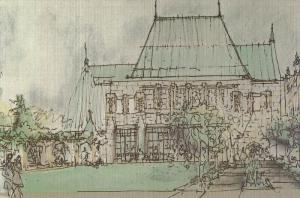 Sketch of Canadian Craft Museum, Vancouver, British Columbia, Canada, 50-70s