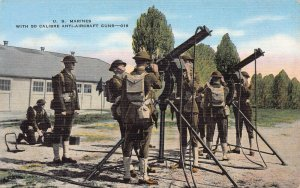 U.S. Marines with 50 Caliber Anti-Aircraft Guns, World War II Era Postcard