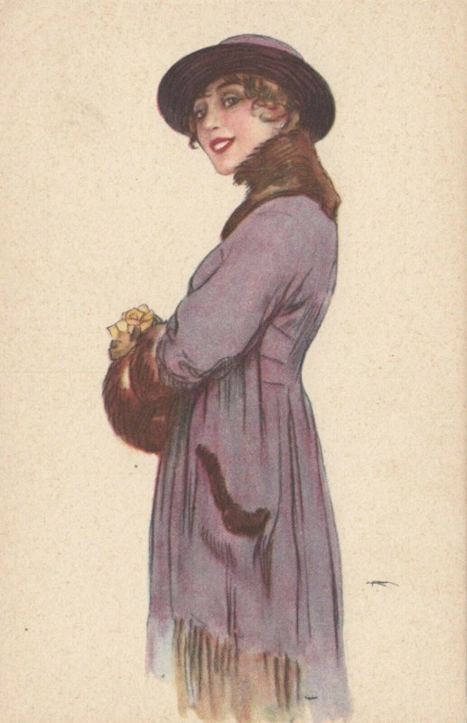 ART DECO ; Female wearing lilac coat with brown fur trimmed, hat, 1910-20s