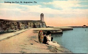 Florida St Augustine Romantic Couple Holding The Fort Curteich