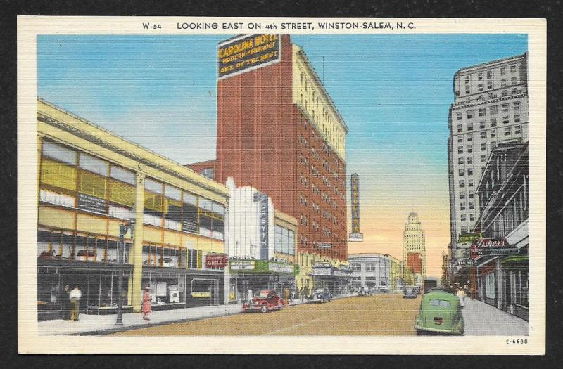 Street View Looking East 4th Street Winston Salem North Carolina Unused c1940s