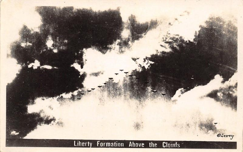 WWI Flying Aces~Liberty Plane Formation Above the Clouds~Levey c1918 RPPC