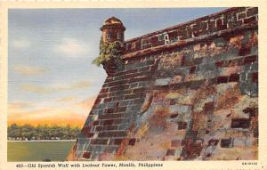 Manila Philippines Old Spanish Wall with Lookout Tower Manila Old Spanish Wal...