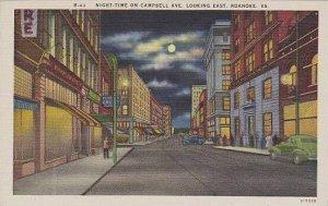 Virginia Roenoke Night Time On Campbell Avenue