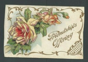1909 Post Card Friendship Greeting Multicolored & Embossed
