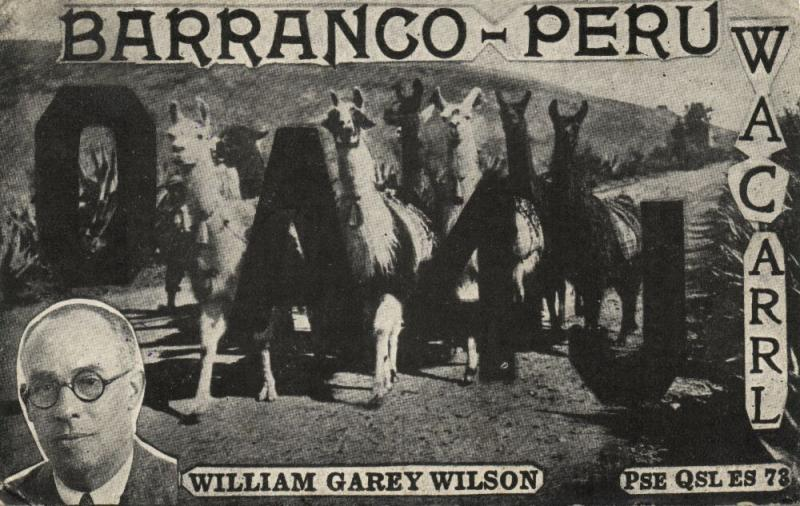 peru, BARRANCO, Llamas, William Garey Wilson, QSL (1934)