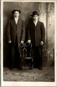 Vintage RPPC Studio Photo Postcard 2 Young Men in Suits & Hats c1930s Unused