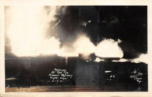 F36/ Casper Wyoming Postcard RPPC 1921 Oil Refinery Tanks Fire Disaster 2