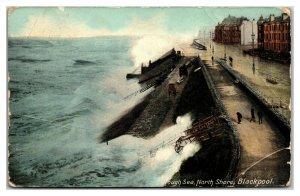 BLACKPOOL ~ Rough Sea North Shore Ocean Waves Breaking 1901 Vintage Postcard