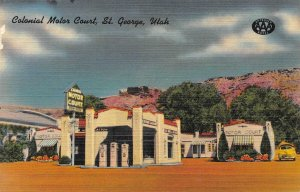 COLONIAL MOTOR COURT St. George, Utah US 91 Roadside Linen Postcard ca 1940s
