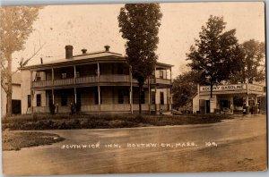 RPPC Southwick Inn and Socony Gas Station Southwick MA Vintage Postcard U05
