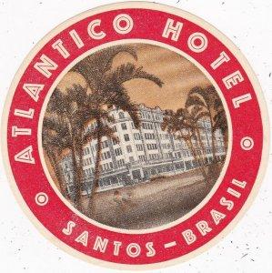 Brasil Santos Atlantico Hotel Vintage Luggage Label sk3973