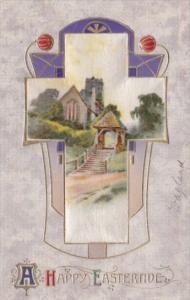 Silk Card Happy Easter With Beautiful Cross & Landscape Scene