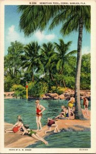 Swimmers at the Venetian Pool, Coral Gables FL Vintage Postcard A14