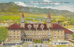Colorado Colorado Springs Antlers Hotel With Pikes Peak Alt 14110 Feet In The...