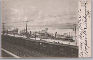 Memphis, Tenn., Levee Scene with Paddle Wheeler Boats & Railroad Cars - 1906