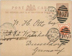 Entier Postal Stationery Postal Great Britain Great Britain 1898 Douglas to D...