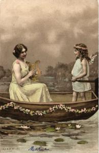 CPA Angel in a Boat with a Lady and a Lute ANGELS (777425)