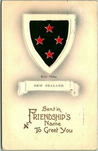 Vintage 1910 NEW ZEALAND Embossed Postcard KIA ORA Sent in Friendship's Name