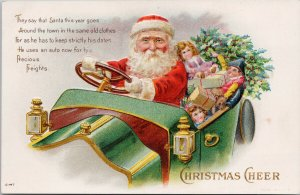 Santa Claus Christmas Cheer Auto Car Presents Gifts Embossed C-147 Postcard E77