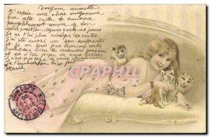 Postcard Old Woman Cat Fancy Cats Kitten