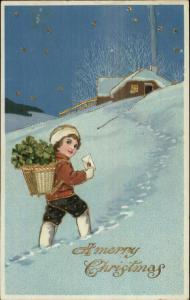 Christmas - Boy Delivering Clovers & Letter in Snow c1910 Postcard