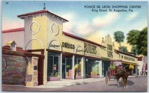 St. Augustine, Florida Postcard PONCE DE LEON SHOPPING CENTER Street View Linen